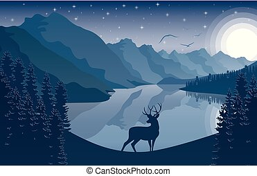 montagne, cielo, cervo, stelle, notte, paesaggio