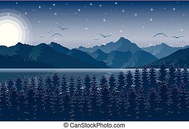 montagne, cielo stellato, foresta, notte, paesaggio fiume