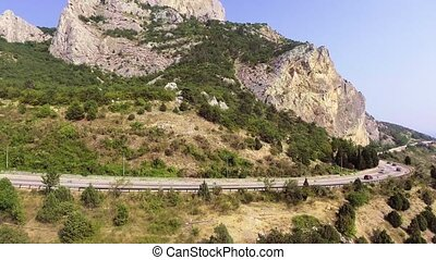 montagne, coast., conduite, voitures, mer, long, route