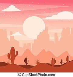 montagne, colline, natura, cartone animato, silhouette, cactus, disertare paesaggio