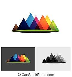 montagne, collines, coloré, &, résumé, gammes, vecteur,...
