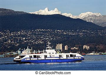 montagne, columbia, nevoso, porto, nord-ovest, due, britannico, neve, leoni, pacifico, cargo, vancouver, traghetto