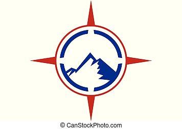 montagne, compas, aventure, logo