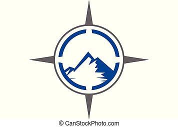 montagne, compas, logo, dsign
