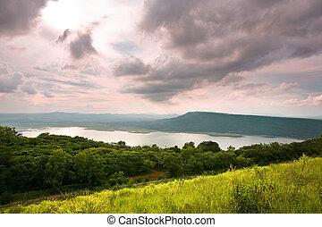 montagne, composition, coucher soleil, mer, grassland.
