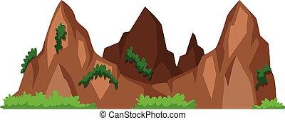 montagne, con, erba verde