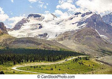 montagne, con, giacimento ghiaccio, accanto a, strada, con, autobus, andare, a, columbia, icefield, in, jasper parco nazionale, alberta, canada