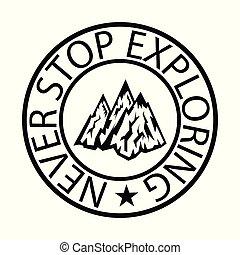 montagne, concept, découverte, exploration., tourisme, sommet, randonnée, voyage, colline, pic, icône, représenter, aventure