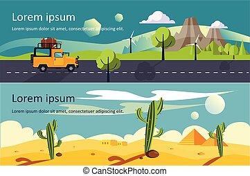 montagne, concept, espace, tranquille, voyage, nature, texte, désert, vecteur, illustrations, bannières horizontales, paysage