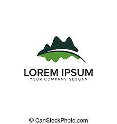 montagne, concept, feuille, conception jardin, gabarit, floral, logo, logo., paysage