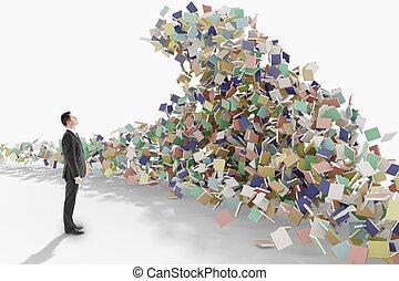montagne, concept, livres, regarde, homme affaires, education