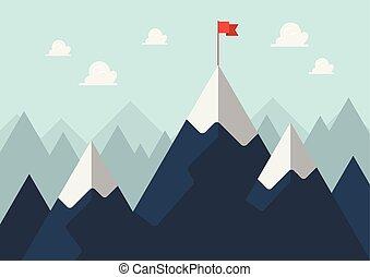 montagne, concept, reussite, drapeau, pic, rouges
