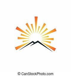 montagne, concept, simple, soleil, logo