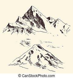 montagne, contorni, incisione, vettore, mano, disegnare