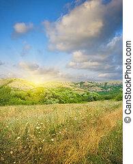 montagne, coucher soleil