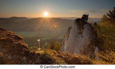 montagne, coucher soleil, paysage, temps