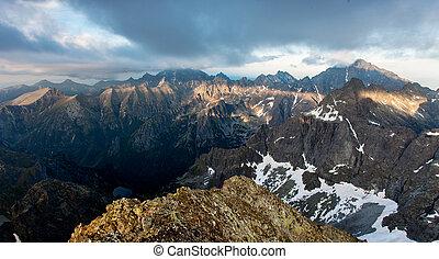 montagne, coucher soleil, pic, landcape, rysy