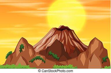 montagne, coucher soleil, vue