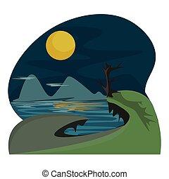 montagne, couleur, illustration, lune, vecteur, ou