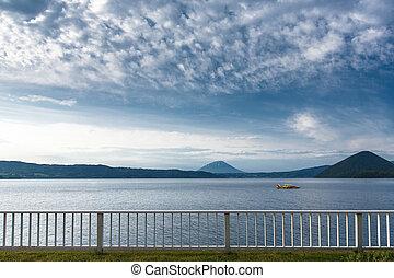 montagne, croiser, toya, lac, jap, fond, hokkaido