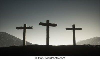 montagne, croix, bois, crucifix