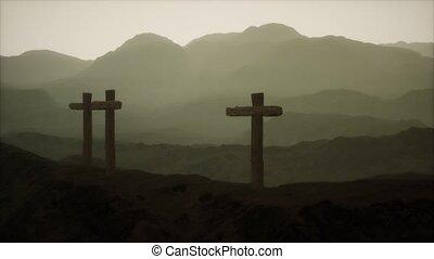 montagne, croix, crucifix, bois