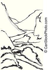 montagne, croquis, paysage., illustration, main, vecteur, dessiné
