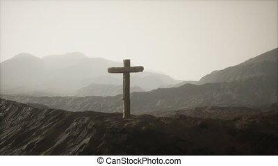 montagne, crucifix, bois, croix
