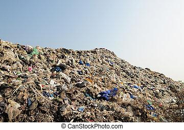 montagne, déchets, grand