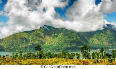 montagne, défaillance, lac, temps
