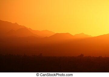 montagne, désert, coucher soleil