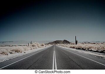montagne, désert, route