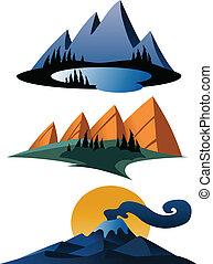montagne, dessin animé, icônes
