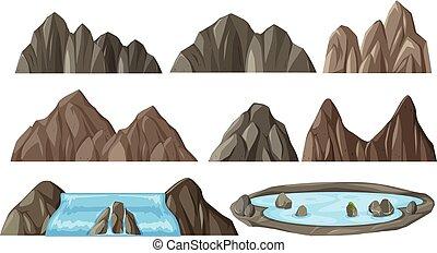 montagne, différent, ensemble
