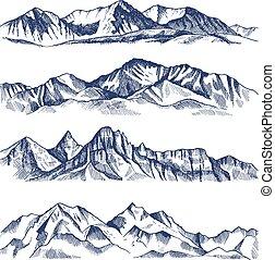 montagne, differente, mano, illustrazioni, disegnato, paesaggio