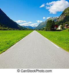 montagne, directement, vide, route
