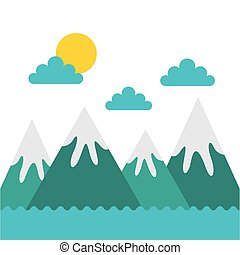 montagne, disegno, paesaggio