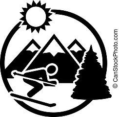 montagne, distintivo, sci
