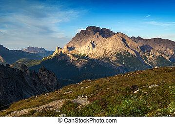 montagne, Dolomiti, italia,  -, paesaggio, alba