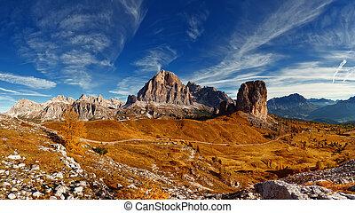 montagne, dolomiti, -, panoramico, italiano, vista