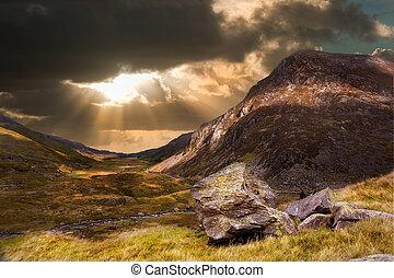 montagne, dramatique, coucher soleil, paysage, morose