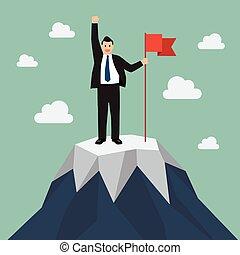 montagne, drapeau, pic, homme affaires