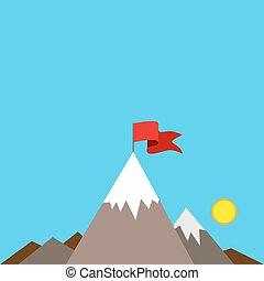 montagne, drapeau, pic, rouges
