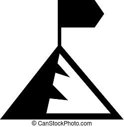 montagne, drapeau, pic
