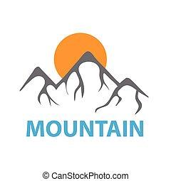montagne, e, sole, vettore, logotipo