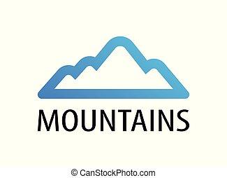 montagne, emblema, viaggiare, -, illustrazione, decorazione, giro, vettore, logotipo, montagne.