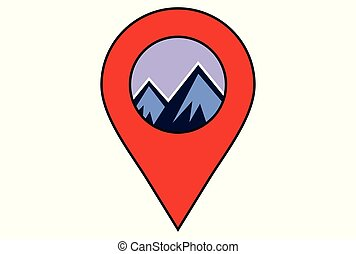 montagne, emplacement, logo, dsign