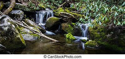 montagne, enfumé, Chute eau,  panorama