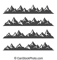 montagne, ensemble, icônes, arrière-plan., vecteur, blanc
