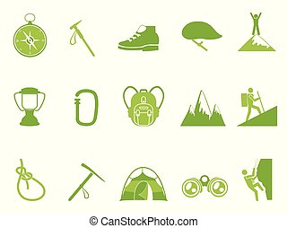 montagne, ensemble, icônes, couleur, vert, escalade